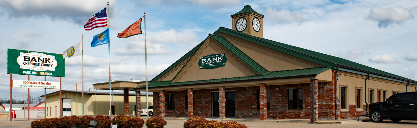 This image displays the exterior of the Park Hill location of the local bank, Bank of Cherokee County, near Tahlequah.