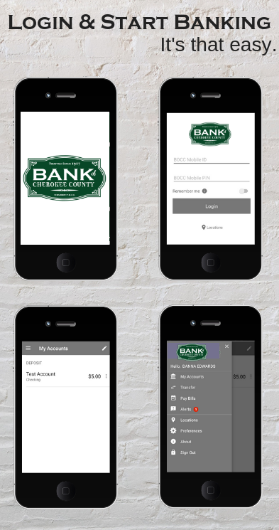 Featured is a few images about how to log into the mobile banking app for local bank, Bank of Cherokee County near Tahlequah Oklahoma.