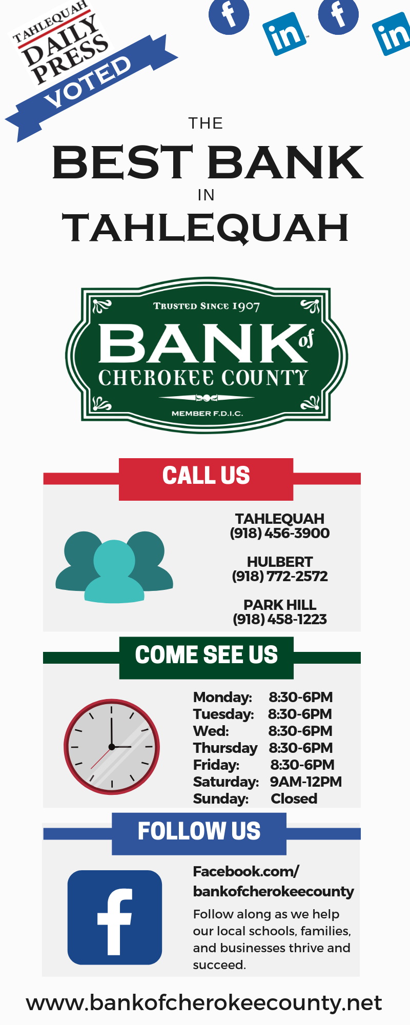 Best Banks in Tahlequah Infographic. Bank Of Cherokee County recently voted the best bank in Tahlequah by the Tahlequah Daily Press.